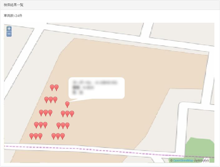 特定フィールド内車両位置管理システムの画面イメージ:車両位置GPSマップ(Web)