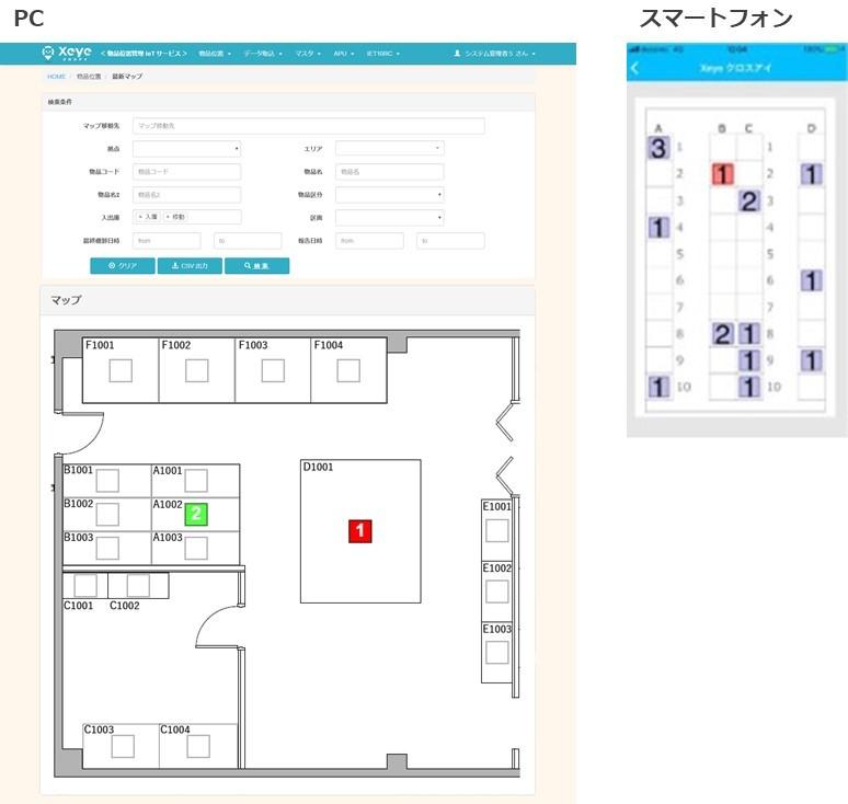 Xeye(クロスアイ)のマップ表示画面例
